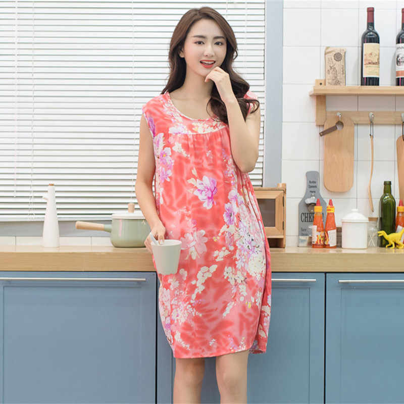 1a1107a771c ... Beauty Ladies Sexy Cotton Nightgown Women Sleeveless Flower Nightwear  Sleepwear Female Lounge Wear Night Dress Home