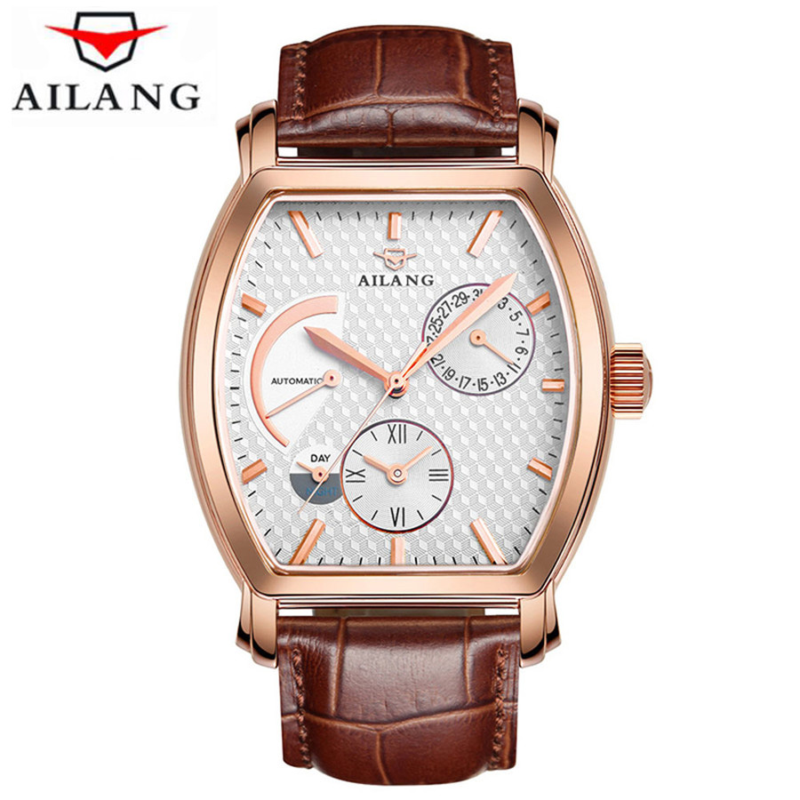 Dual Time Display Mens Automatic Mechanical Watch Top Brand Luxury Sapphire Men Genuine Leather Watches Male Business Clock mce sports mens watches top brand luxury genuine leather automatic mechanical men watch classic male clocks high quality watch