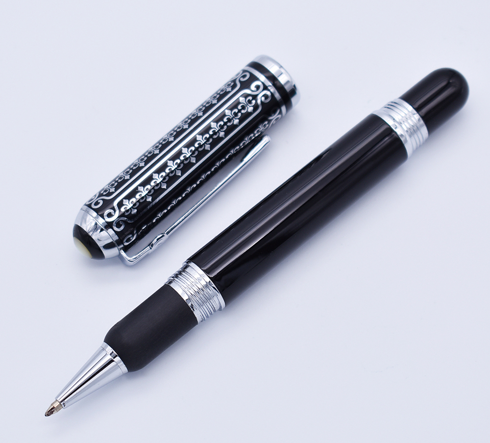 Image 2 - Duke 669 Roller Ball Pen , Beautiful Black Flowers Pattern Smooth Refill Writing Pen Business , Office , Home Supplies-in Ballpoint Pens from Office & School Supplies