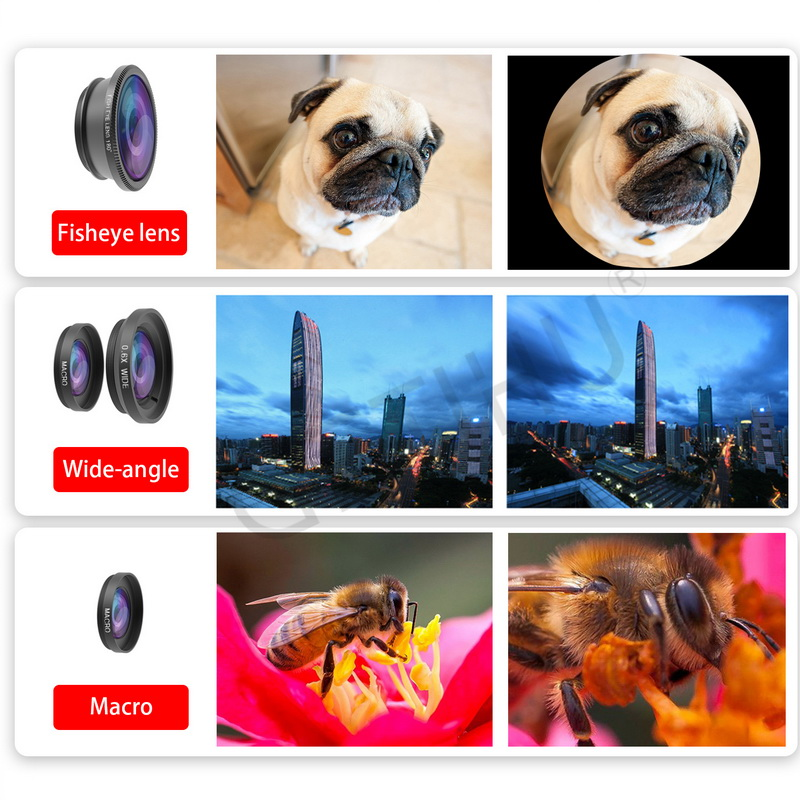 Universal 3 in 1 Wide Angle Macro Fisheye Lens Camera Mobile Phone Lenses Fish Eye Lentes For iPhone 6 7 Smartphone Microscope 7