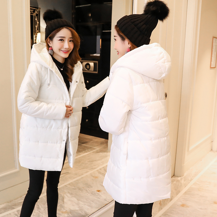 Pregnant women of han edition easy to film a word long woman with thick cotton-padded clothes coat quilted jacket down jacket