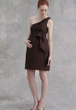 2016 NEW! Customed Made Satin One-Shoulder Brown Short Maternity Bridesmaid Dresses Plus Size