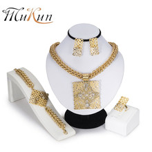 b9f3b808d2f5 MUKUN 2018 India joyas moda Dubai oro color joyería conjuntos marca Africana  mujeres grandes anillos collar pulsera pendientes S..