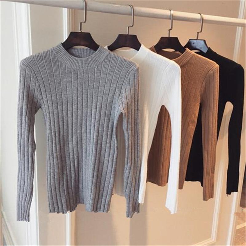 DeRuiLaDy Autumn Winter Sweater Women Long Sleeve Pullover Women Basic Sweaters Womens 2019 Korean Style Knit Tops Femme Jumper