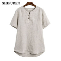 SHIFUREN Summer Short Sleeve Linen Shirts Men Retro Chinese Style Breathable Pure Linen Shirts Collarless Causal Men's Clothes