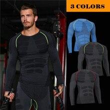 Фотография 2017 New  Custom Compression Tracksuit Men Training Running Set Fitness Tight Long Sleeve Shirt Pants Leggings Gym Sport Suit