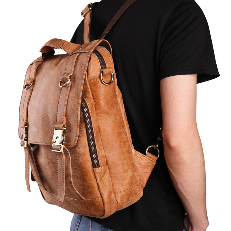 The Cheapest Price Nesitu High Quality Brown Vintage Real Skin Soft Genuine Leather Women Men Backpacks Male Travel Bag Shoulder Bag M6408 Men's Bags