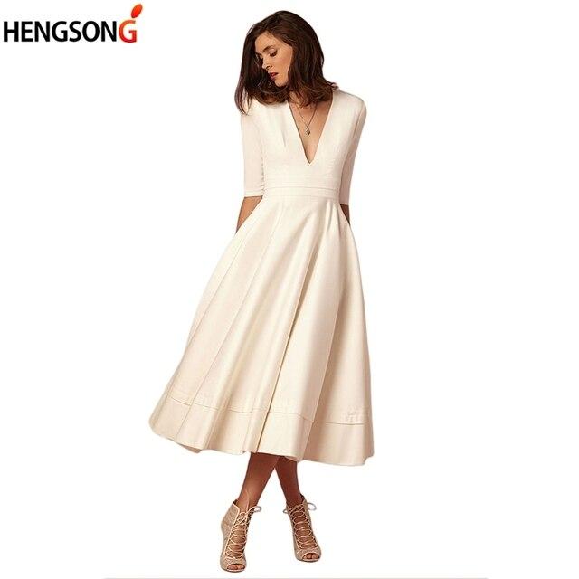 45b92a8c4 € 11.79 33% de DESCUENTO|Las mujeres de la moda de primavera vestido de  cintura alta media manga de la rodilla longitud bohemio Maxi Vestido Mujer  ...