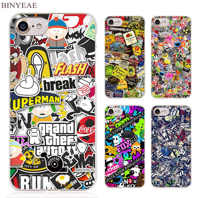 BINYEAE Sticker Bomb Illustration Pattern Clear Cell Phone Case Cover for Apple iPhone 4 4s 5 5s SE 5c 6 6s 7 Plus