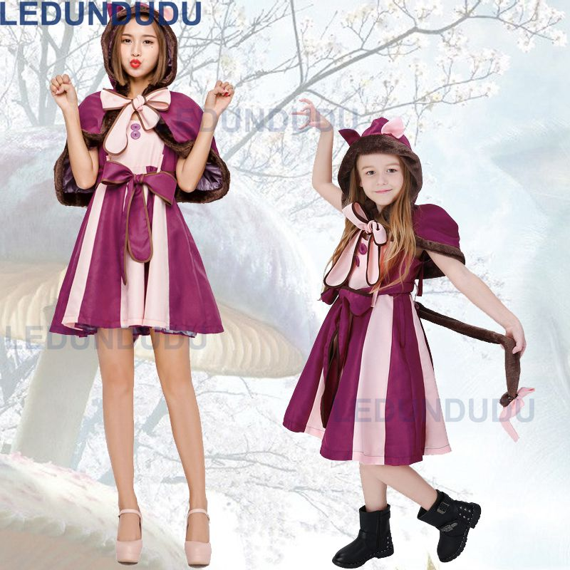 Alice In Wonderland Costume Cheshire Cat Cosplay Dress For Adult Kids Halloween Fancy Party Suit Parent-child Clothes