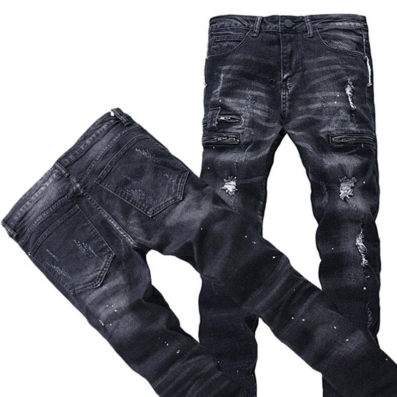 75b1168af0e72 Hemiks Mode Hommes Ripped Biker Jeans Noir Slim Fit Moto Jeans M Vienntage  Distressed Denim Jeans Moyen Lavage Pantalon dans Jeans de Mode Homme et ...