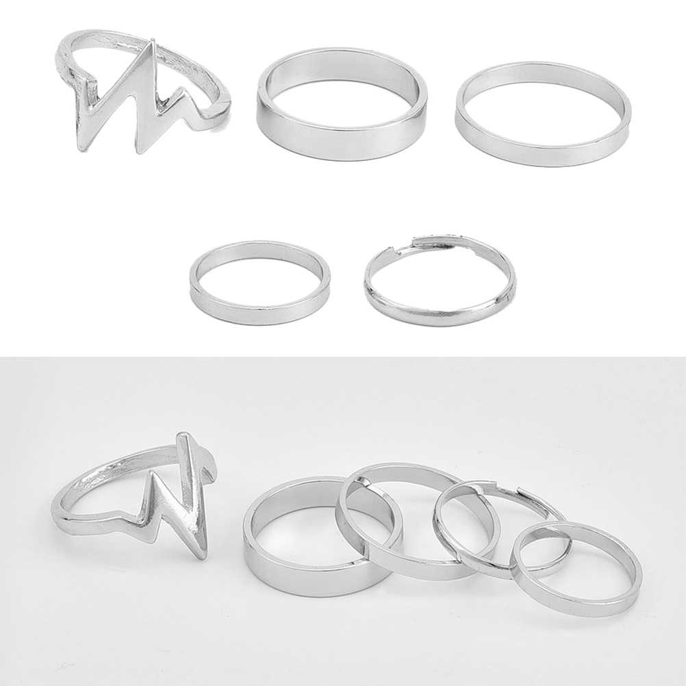 5Pcs Alloy Simple Knuckle Rings Fashion Jewelry Chic Stylish Unique Mid Joint Stack Ring Set for Girls Women Ladies