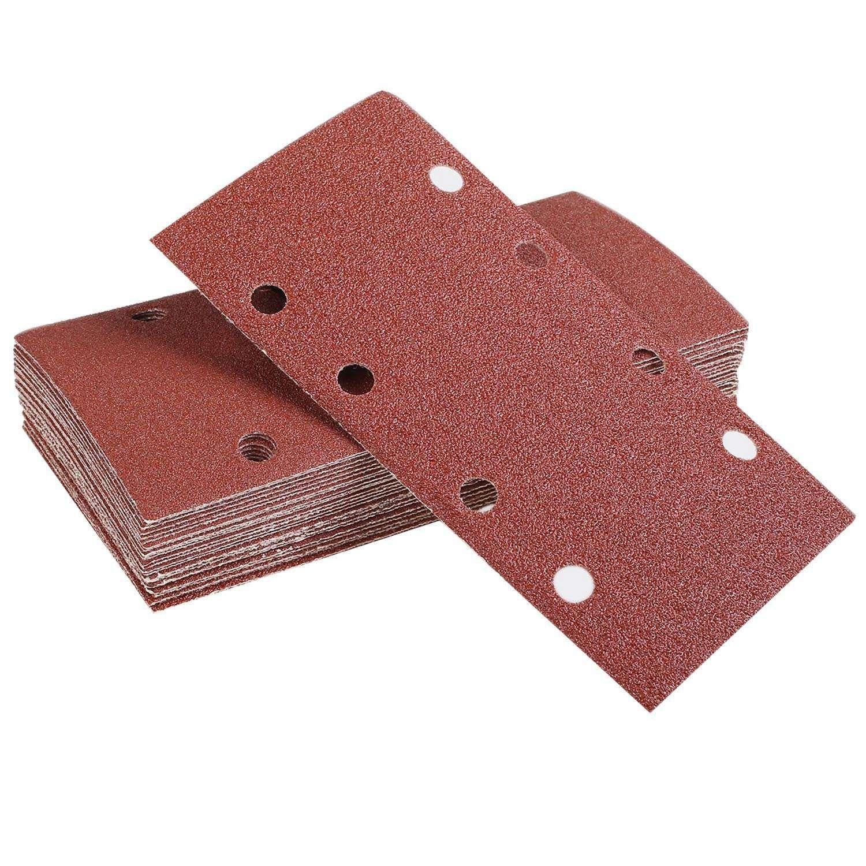 50pcs 190*93mm Square Sandpaper 1/3 Sheet Sanding Sander Sandpaper Pads Mixed Grit 40/60/80/100/120 8-hole Square Sandpaper