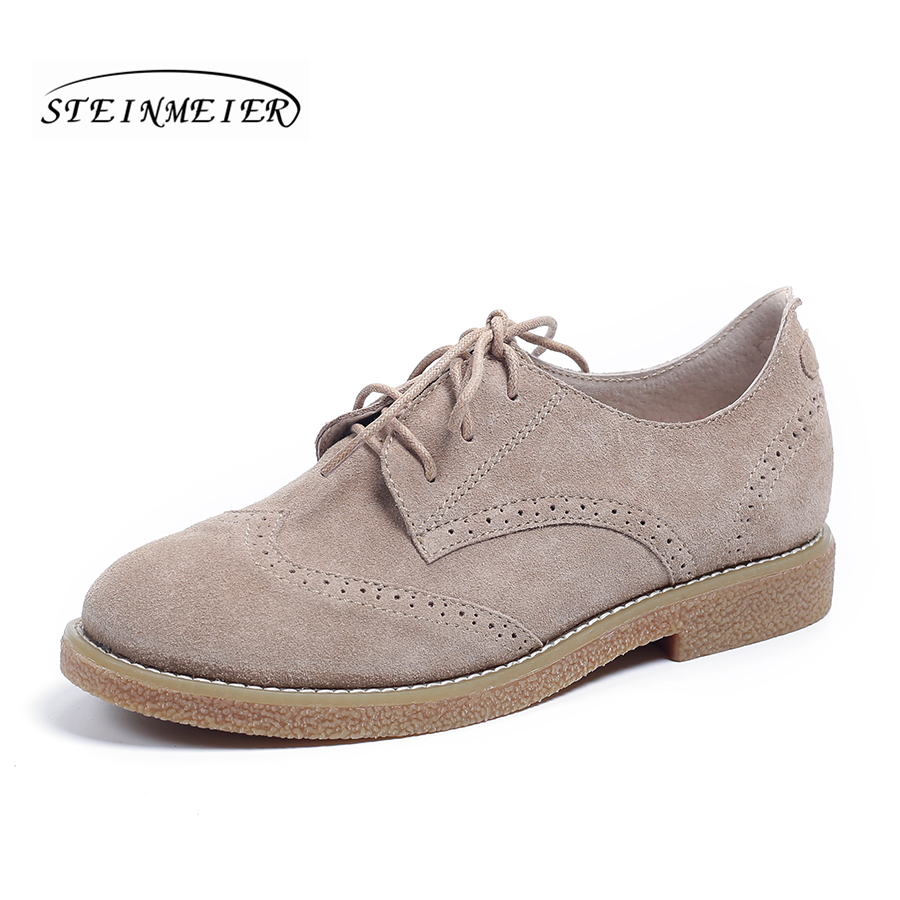 women genuine leather vintage flats casual shoes round toe handmade lace up suede leather oxford shoes for women