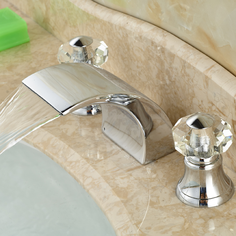 Double Cristal Handles Waterfall Basin Sink Mixer Taps Deck Mount 3 Hole Brass Bathroom Faucet Chrome Finish