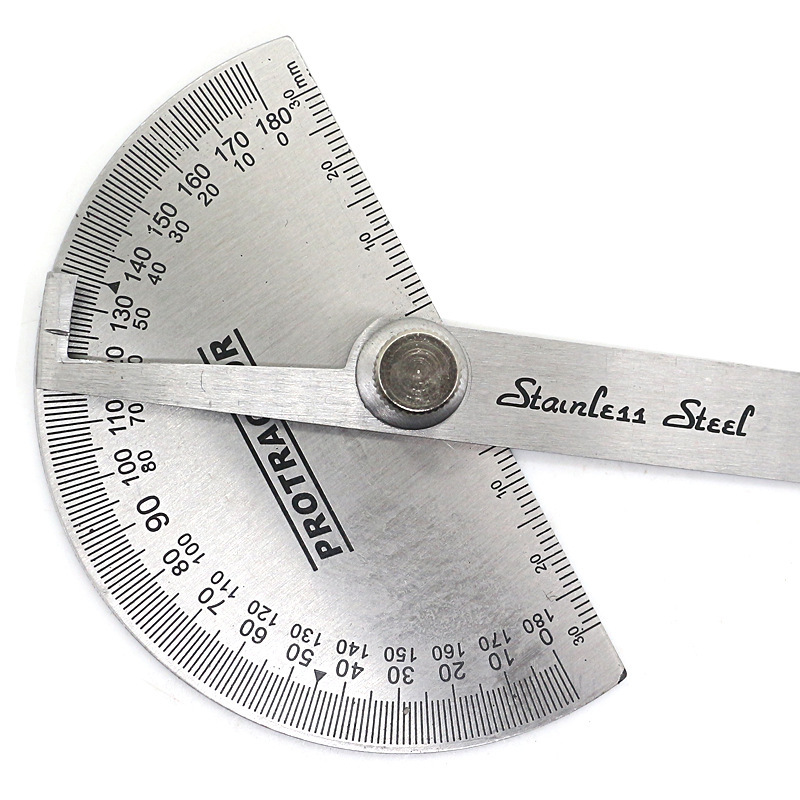 180 Degree Adjustable Protractor Multifunction Stainless Steel Roundhead Angle Ruler Mathematics Measuring Tool