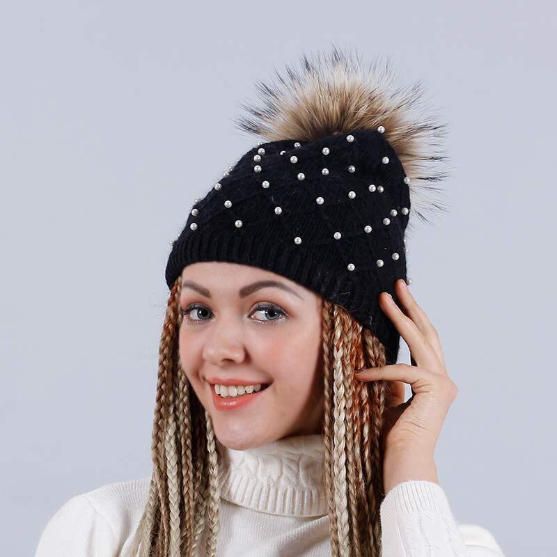 YHKGG Pearl Beanies Cap 2016 Winter Hats For Women With Genuine Raccoon Fur Pom Pom Cute Hat Unisex  Gorros H2048B 3pcs unisex hats cap beanies for men