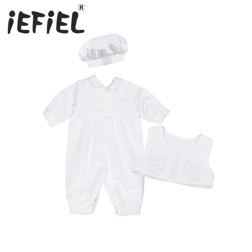 iEFiEL Baby Boys Baptism Christening Outfits Long Sleeve Romper with Vest and Bonnet Hat