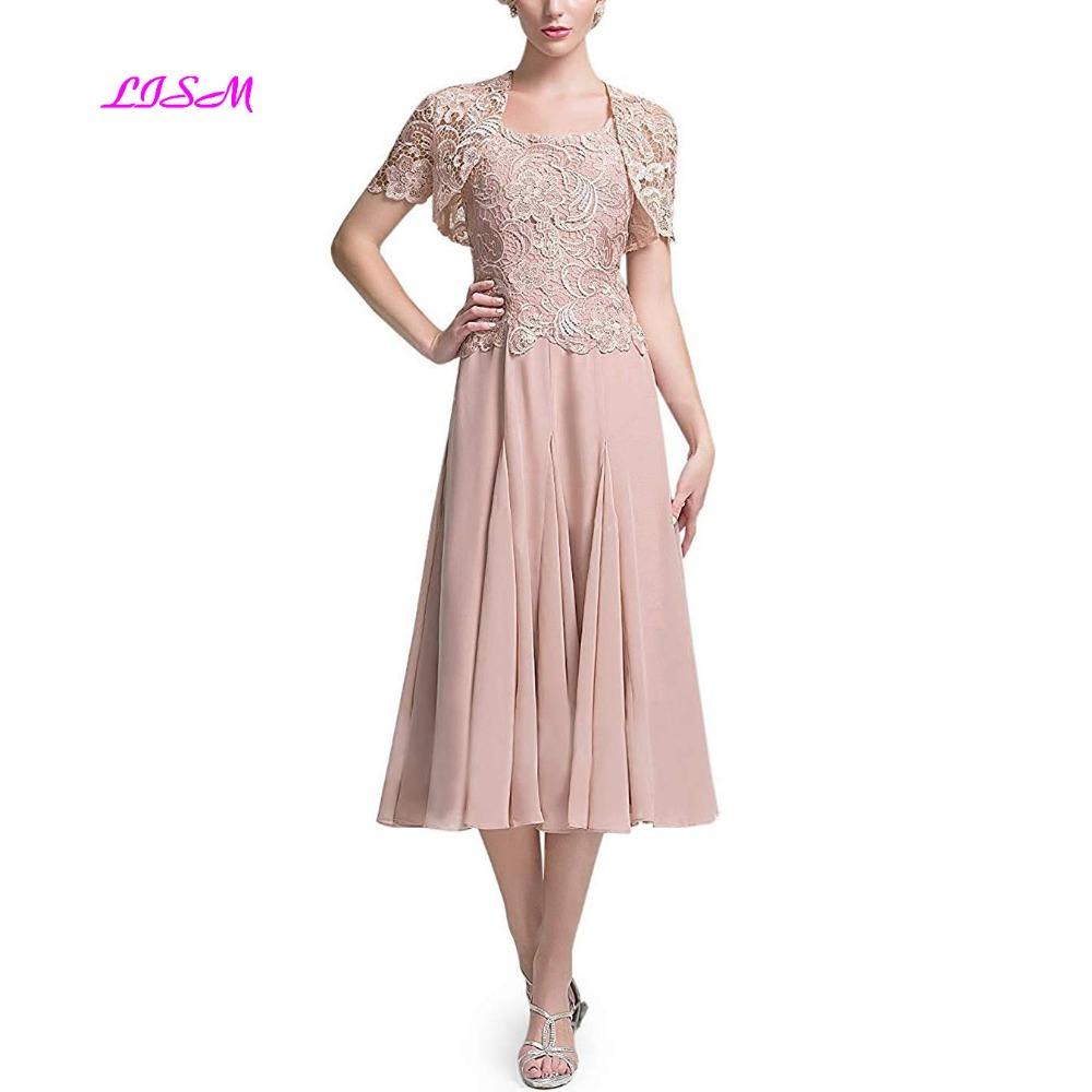 Tea Length Mother Of The Bride Dresses With Lace Jacket Elegant Chiffon Mother Dress 2019 Evening Gowns