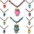 High Quality Vintage Jewelry Ethnic Crystal Rhinestone Opal Owl Class Bead Necklace Pendant Chain Choker Statement Necklace