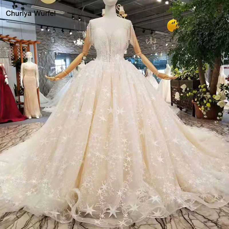 LSS393 Свадебные платья с кисточками шампанского 2019 Чистая новая иллюзия О-образным вырезом с длинным рукавом свадебное платье свадьба платье с блестящим длинным шлейфом