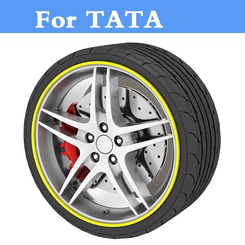 8M/Roll Auto Wheel Hub Tire Sticker Car Decor Styling Protection For TATA Aria Indica Indigo Nano Safari Sumo