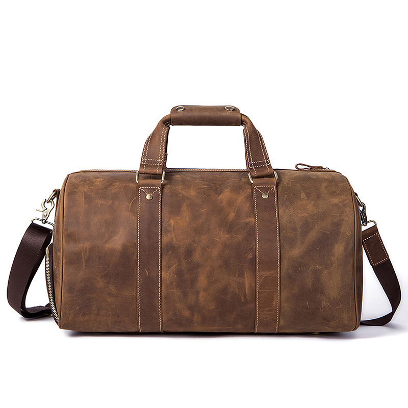Vintage Crazy Horse Genuine Leather Men Travel Bags Luggage Travel Bag Leather Men's Duffle Bags Large Men Weekend Bag