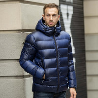 Male warm Jacket Coats Solid Hooded Casual Thicken Outwear Winter Down Jacket Fashion Casual Men 80% White goose down Coat