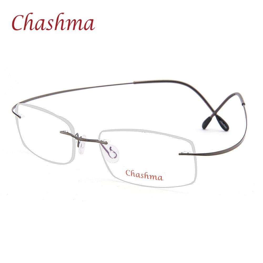 28a01eefb تشاشما العلامة التجارية التيتانيوم النظارات البصرية النساء و الرجال الأزياء بدون  شفة خفيفة للغاية 2 جرام فقط النظارات البصرية إطار
