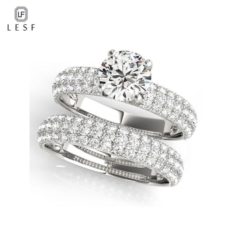 LESF élégant mariage bagues de fiançailles ensemble 925 en argent Sterling anniversaire accessoires avec pleine brillant Cubiz Zircon pierre