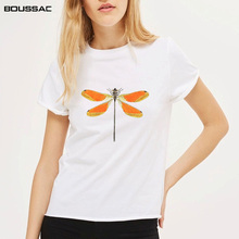Women Clothes Insect Print Summer New Fashion Womens Plus Size Cotton Harajuku Tees Short Sleeve White O-neck Female T-Shirt