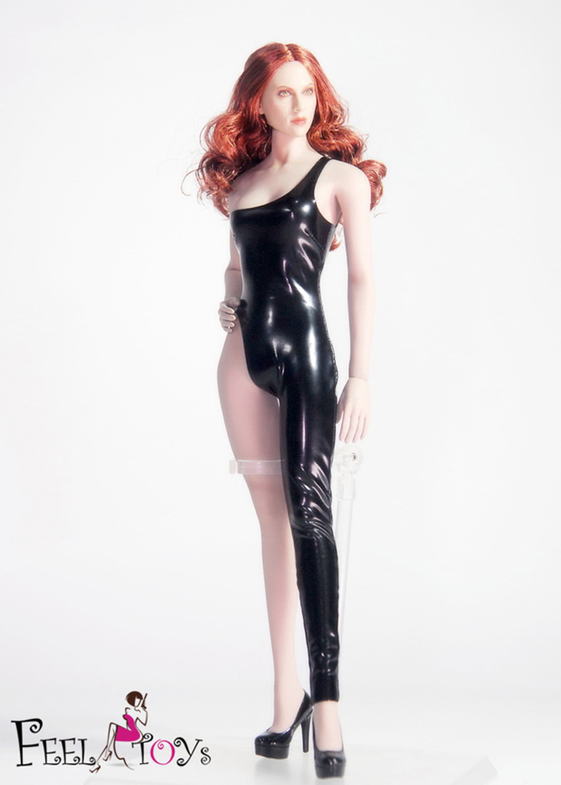 Mnotht 1/6 <font><b>Sexy</b></font> woman Tight Leather dress High heels clothing set Leather jumpsuit Figure Model for female body figure toy gift image