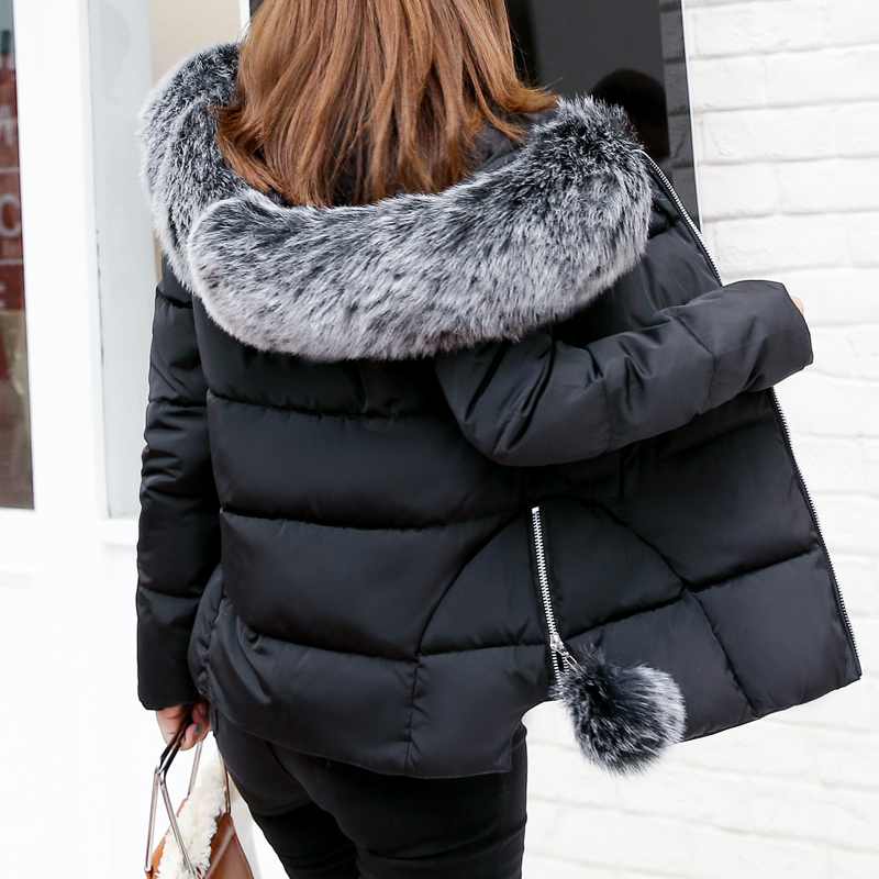 Women Winter Jacket Large Fur Collar Parka Hooded Coat Short Slim Female Thick Warm Cotton Padded Jackets Plus Size Woman Coats 2017 women winter coat fur collar hooded long sleeve jackets slim thick winter jacket woman s down cotton parka plus size qh0242