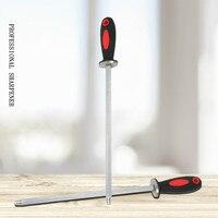 12 인치 나이프 숫돌 탄소강 날카롭게하는 막대 요리사 플라스틱 손잡이 부엌 칼 날카롭게하는 공구 숫돌 musats 막대