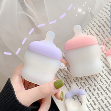 Cute 3D Babys Bottle Case For Airpods Soft Silicone Wireless Bluetooth Earphone 2 Cover With Finger Ring Strap