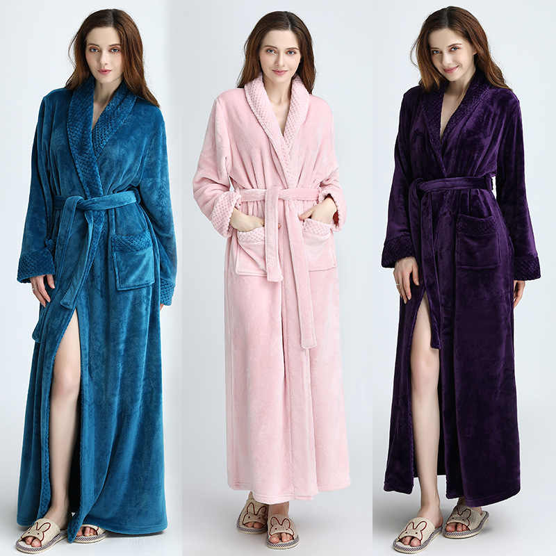 Purple Ladies Cozy zip up Long dressing gown Bath robe housecoat Fleece  Dressing Gown Robe for 6ec8804e6