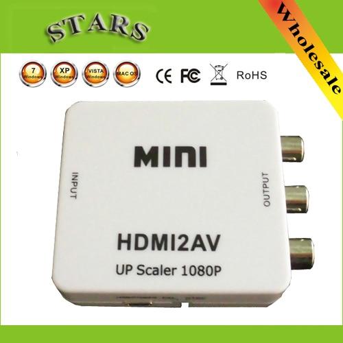 Mini HD Video convertidor HDMI a RCA AV/CVSB L/R Video 1080 p HDMI2AV apoyo NTSC amigo salida HDMI a AV Scaler adaptador de interruptor