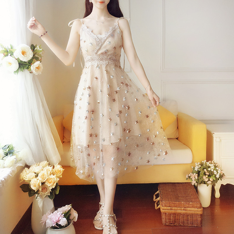 Sweet Women Embroidery V Neck Lace Mesh Dress Casual Sleeveless Star Sequin A-Line Dress ...