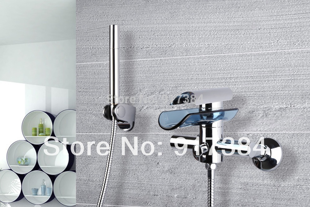 Construction & Real Estate Waterfall Wall Mounted Bathroom Basin Sink Bathtub Chrome Single Handle M-028 Mixer Tap Faucet free shipping polished chrome finish new wall mounted waterfall bathroom bathtub handheld shower tap mixer faucet yt 5333