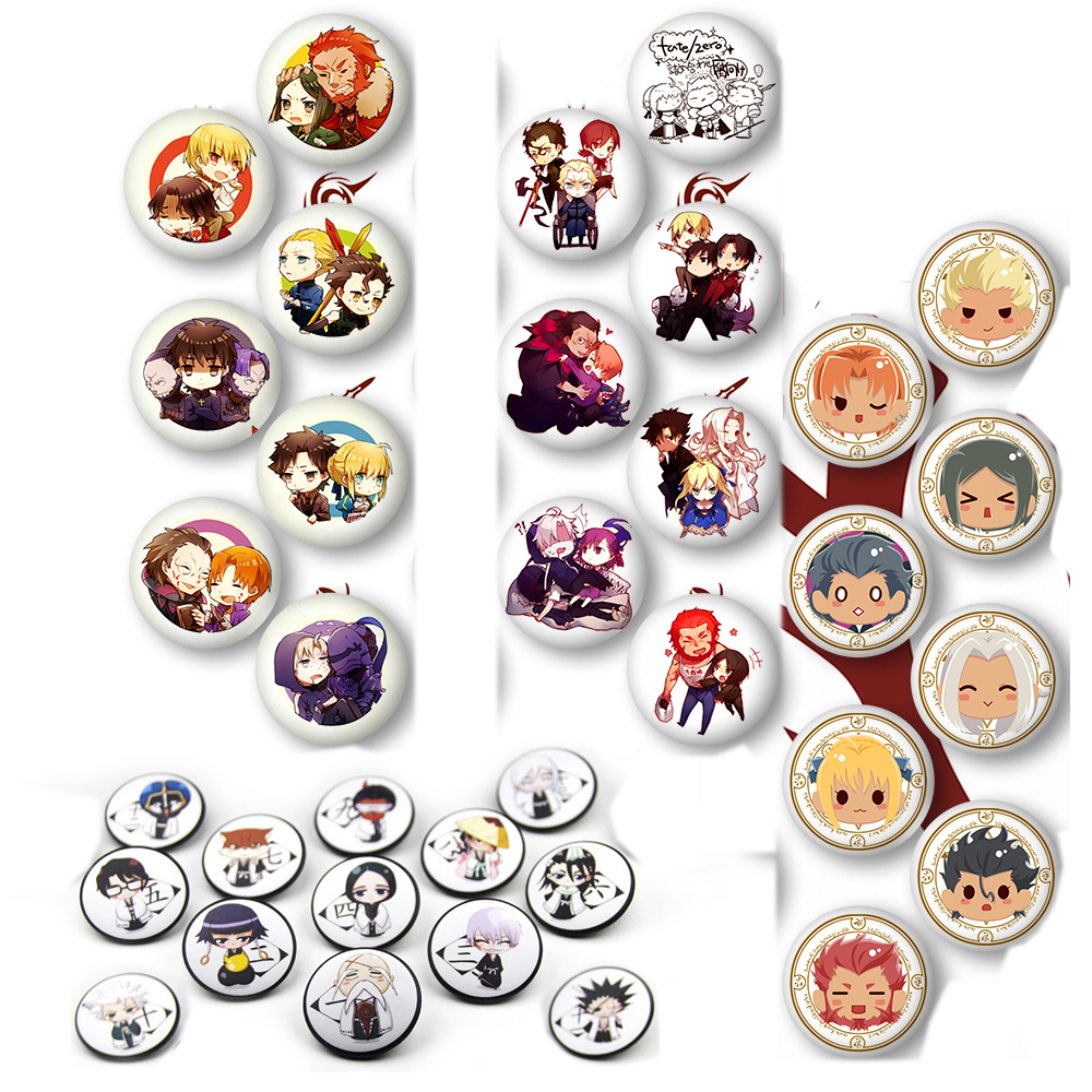 Anime Fate Zero Cosplay Badges Saber Cartoon Printed Brooch Pin Bleach Captian Cute Collection Badge Backpack Clothes Decoration