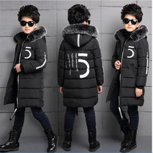 Children's wear boy winter coat 2018 new long section thickening big boy 12 cotton clothing 15 years old Orange black
