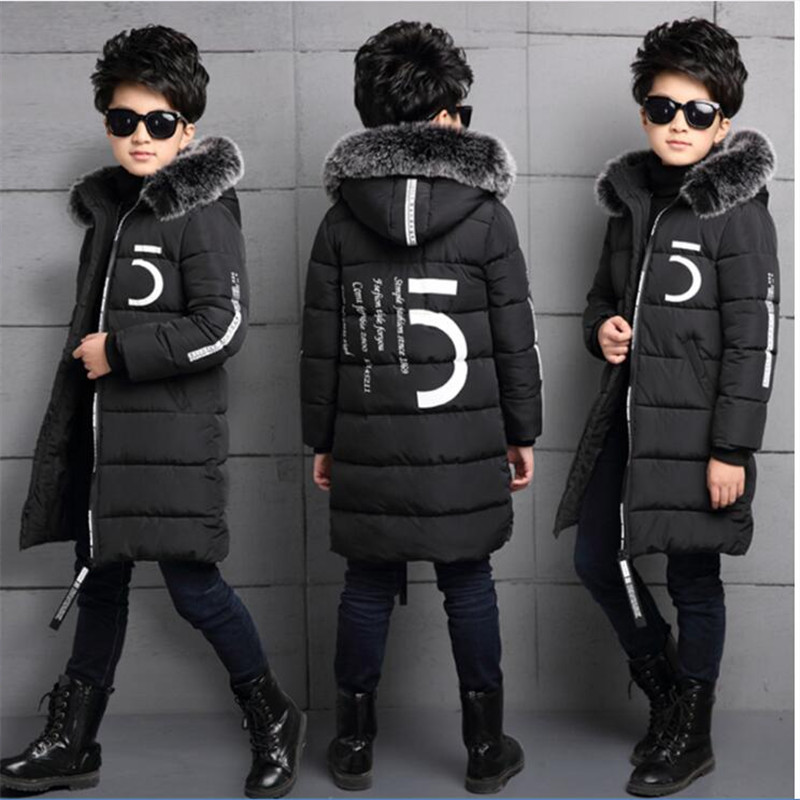 Children's wear boy winter coat 2018 new long section thickening big boy 12 cotton clothing 15 years old Orange black oasis 19549863