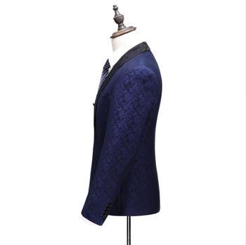 Costume Homme 2019 Costumes De Mariage Pour Hommes Col Classique 3 Pièces Slim Fit Mode Costume Hommes Bleu Royal Veste De Smoking Robe Complète