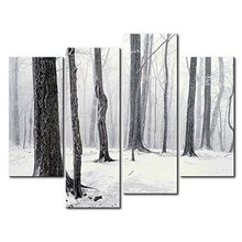 4 Panels Framed snowing Painting Canvas Wall Art Picture Home Decoration Living Room Print Modern Painting/10Y-44