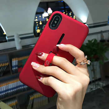 Fashion Kickstand Case For iPhone XS Max Case Finger Loop Strap Cover For iPhone XR XS X Armor Shockproof Holder Back Phone Case