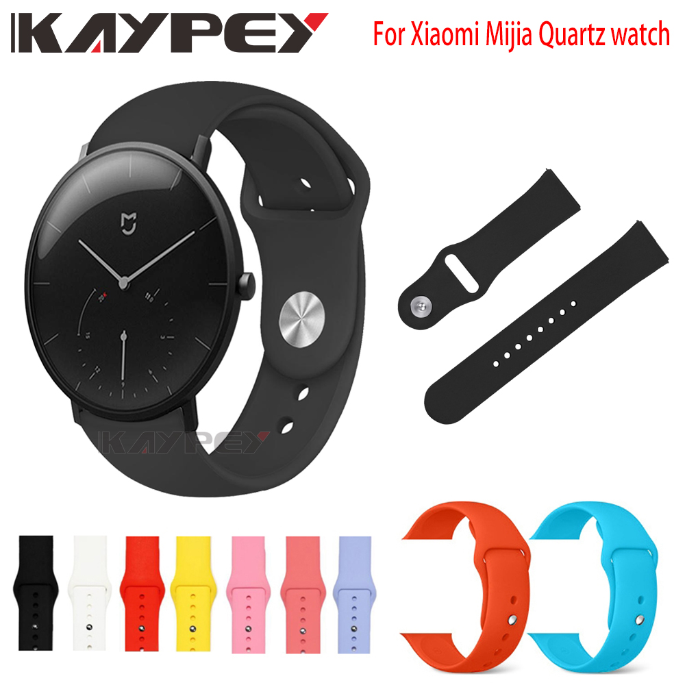 Silicone Soft Strap For Xiaomi Mijia Quartz Watches Wearable Wrist Bracelet Xiaomi Soft Sport 20mm Smart Wristbands Watch Strap
