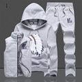 Three-Piece Set Tracksuit Men Autumn/Winter Hoodies Men Tracksuit Set Jacket Vest Pants Sportsuit Jogger Men Sweat Homme 2016