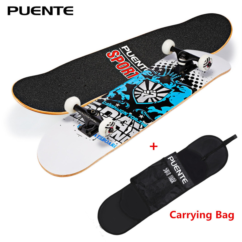 PUENTE 31-inch Skateboard 7-layer Maple Wood Deck With T-shape Tool For Kids Adults Beginners