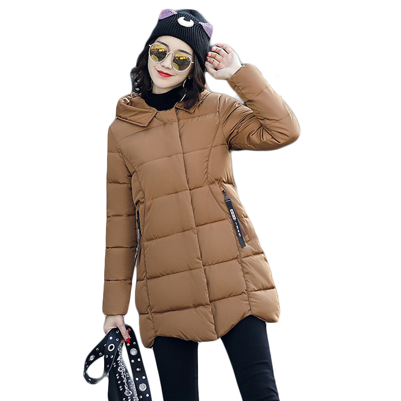 Winter Jacket Women 2017 Girls Fashion Medium-long Loose Cotton-padded Hooded Jacket Parka Female Wadded Jacket Outwear CM1673 2015 new mori girl wave raglan hooded loose sleeve medium long wadded jacket female
