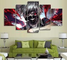 5 Panels Wall Art Anime Ken Kaneki Tokyo Ghoul Paintings Canvas Poster Unframed 5236